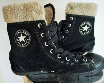 Converse Boots   Sneakers   Warm inside  Winter   Felted   Retro   All Star    US 9 1 2 UK 7 EU 41   Suede   Shoes   Old School   black a19ff5a1f