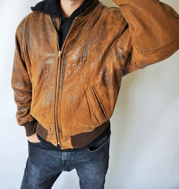 Vintage Leather Jacket / Brown / 90's / Large / L