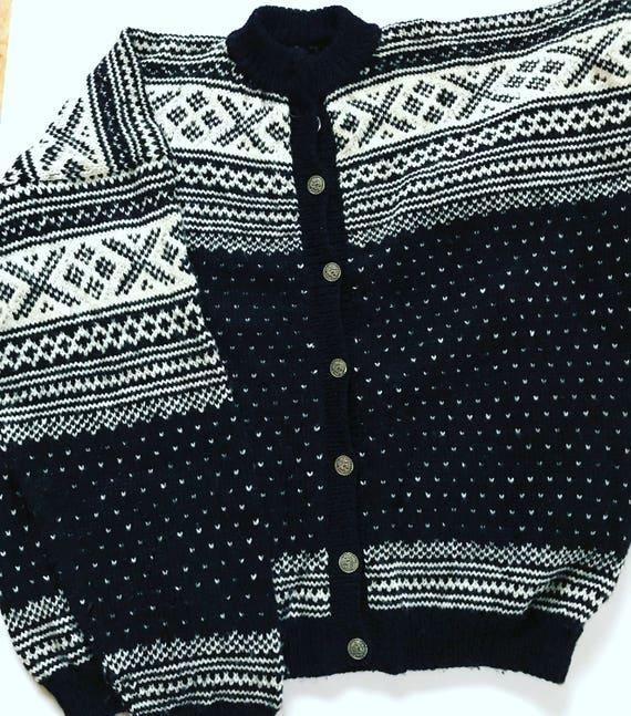 pure buttons Norwegian Medium Silver Norway Sweater Vintage Nordic Scandinavian m Black Winter Cardigan wool Woolen wFYtqZpx4x