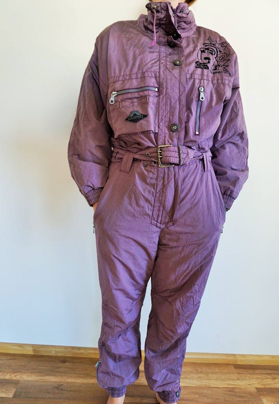 Vintage One Piece Skiing Suit / Ski Wear / Purple