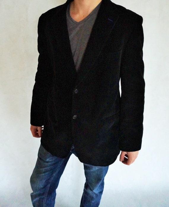 Vintage Mens Velvet Blazer / Coat / Jacket / Black