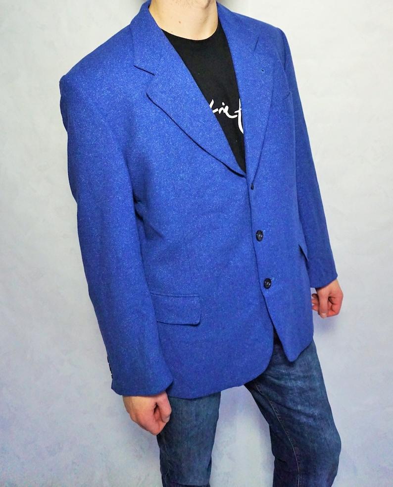 Vintage Mens Jacket  Wool Smoking jacket  Blazer  Woolen Coat  Suit  Large  L  Evening  WInter Outwear  Blue