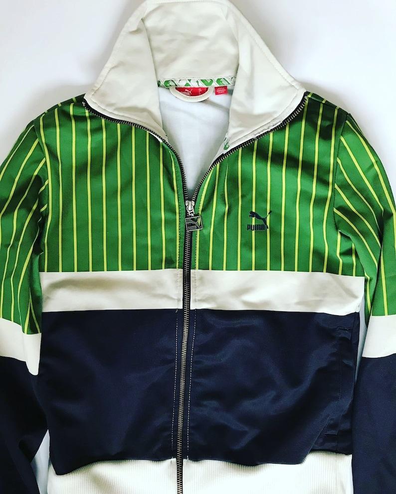 5960e868c3382 Vintage PUMA Jacket / Small / S / Windbreaker / White / Green / Sweatshirt  / Tracksuit / Track Top / Sporty / Activewear / Sportswear /