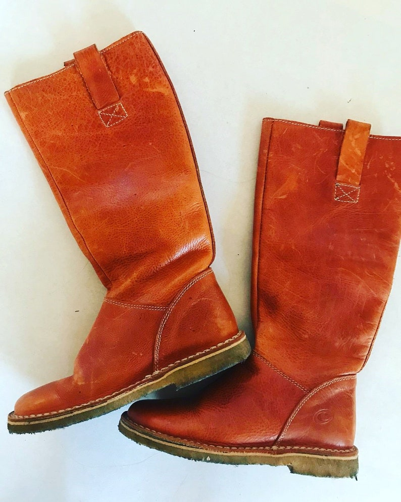 d03c974c505 Vintage Light Brown Soft Leather Boots / EUR 36 / Womens US 5 1/2 / Shoes /  Cowgirl / Country / Genuine Leather / Orange / High
