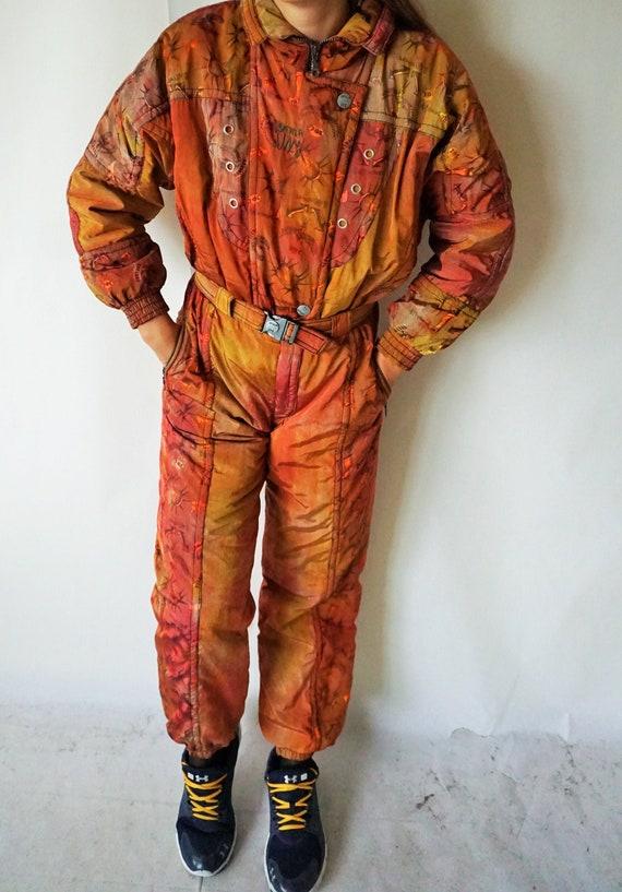 Vintage One Piece Skiing Suit / Ski Wear / Green /