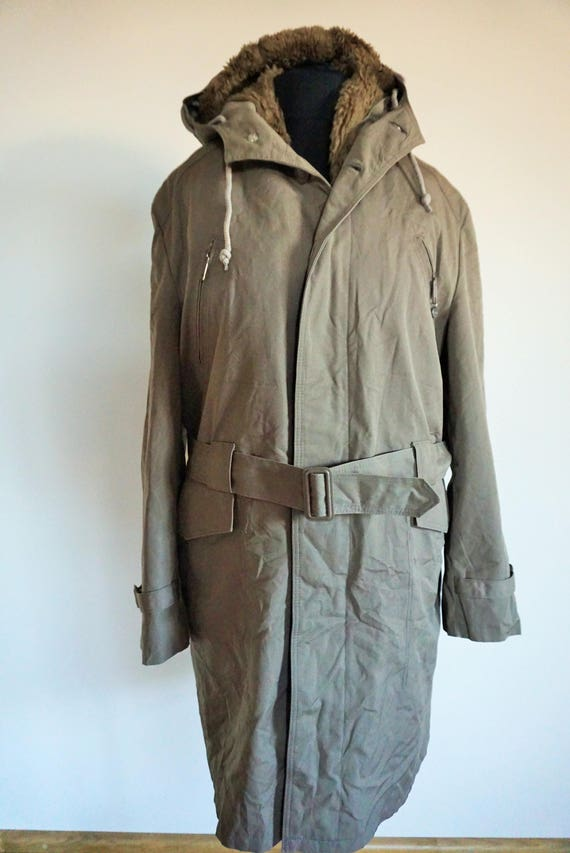inside Field Lined Vintage lining M Military Coat Brown Medium Cargo Army Jacket Hood Outwear Khaki Winter Warm WA4WZRq