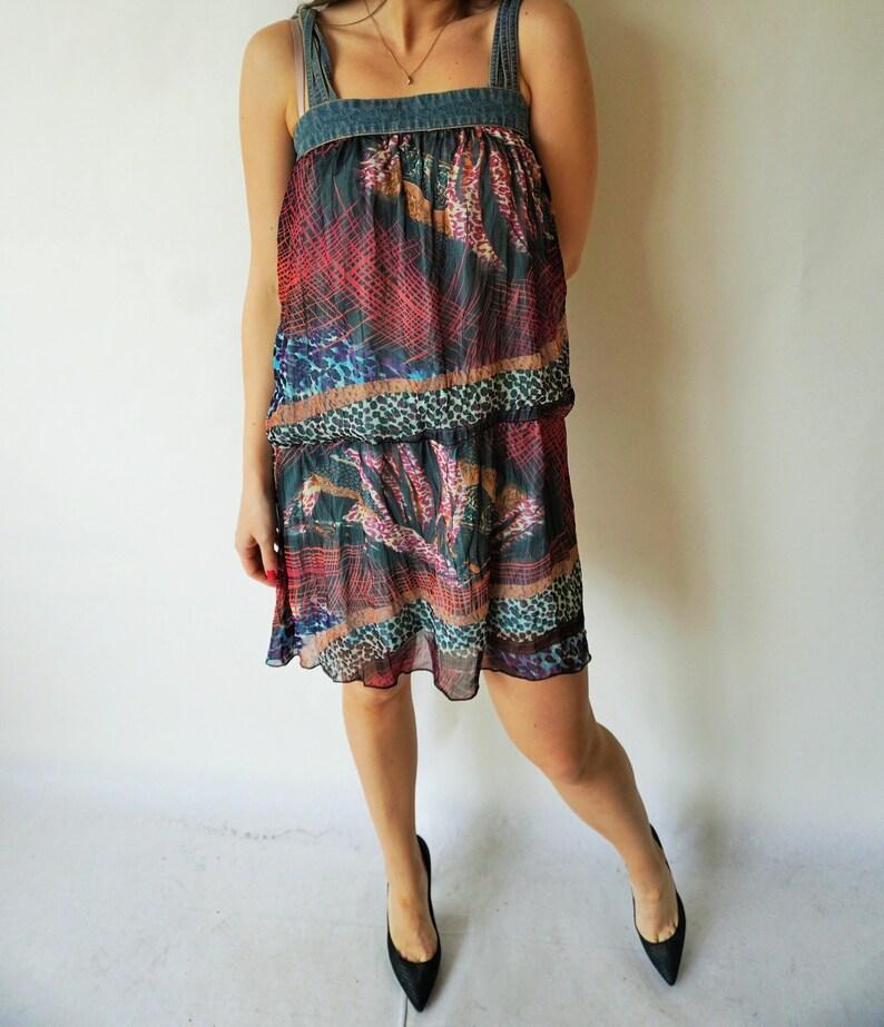 Vintage Summer Dress  Sarafan  Denim  Floral  Flowers  Dresses  large L  Mini  Overall  Onepiece