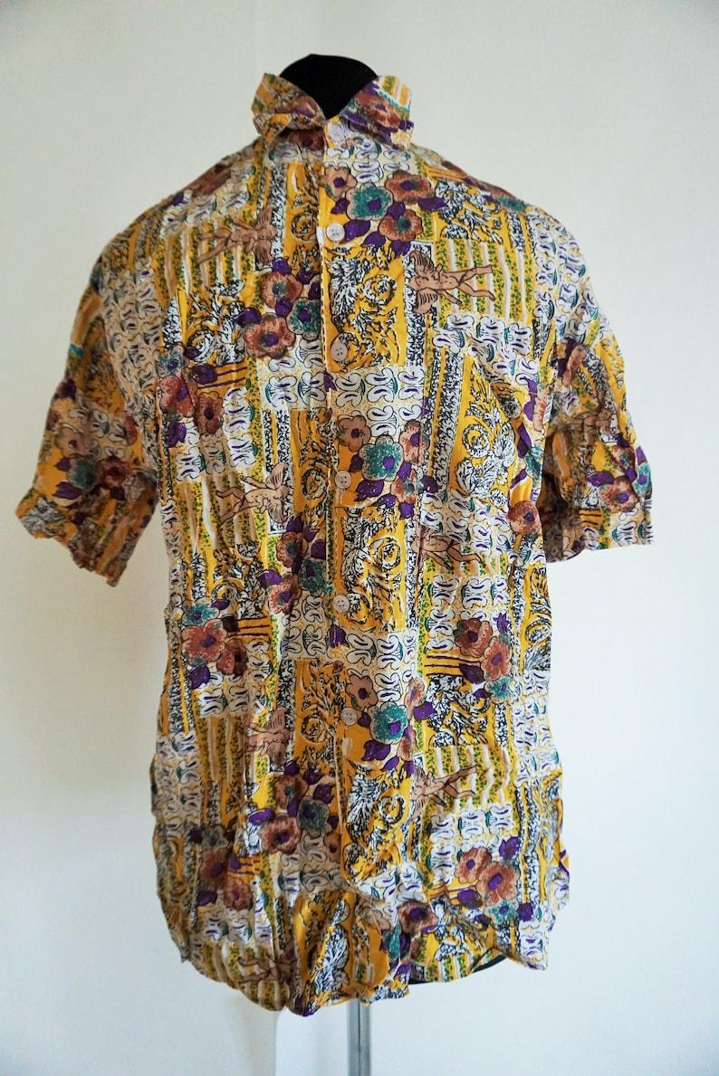 Vintage Hawaii Mens Shirt  Medium  M  Vacation  Hawaiian  Shirts 90s  Hippie  Jungle  Floral  Flowers  Short sleeve Hipster Boho