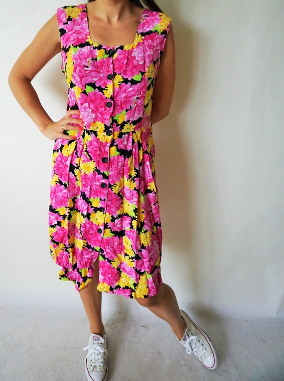 Vintage Summer Dress / Sarafan / Buttons down / F… - image 2
