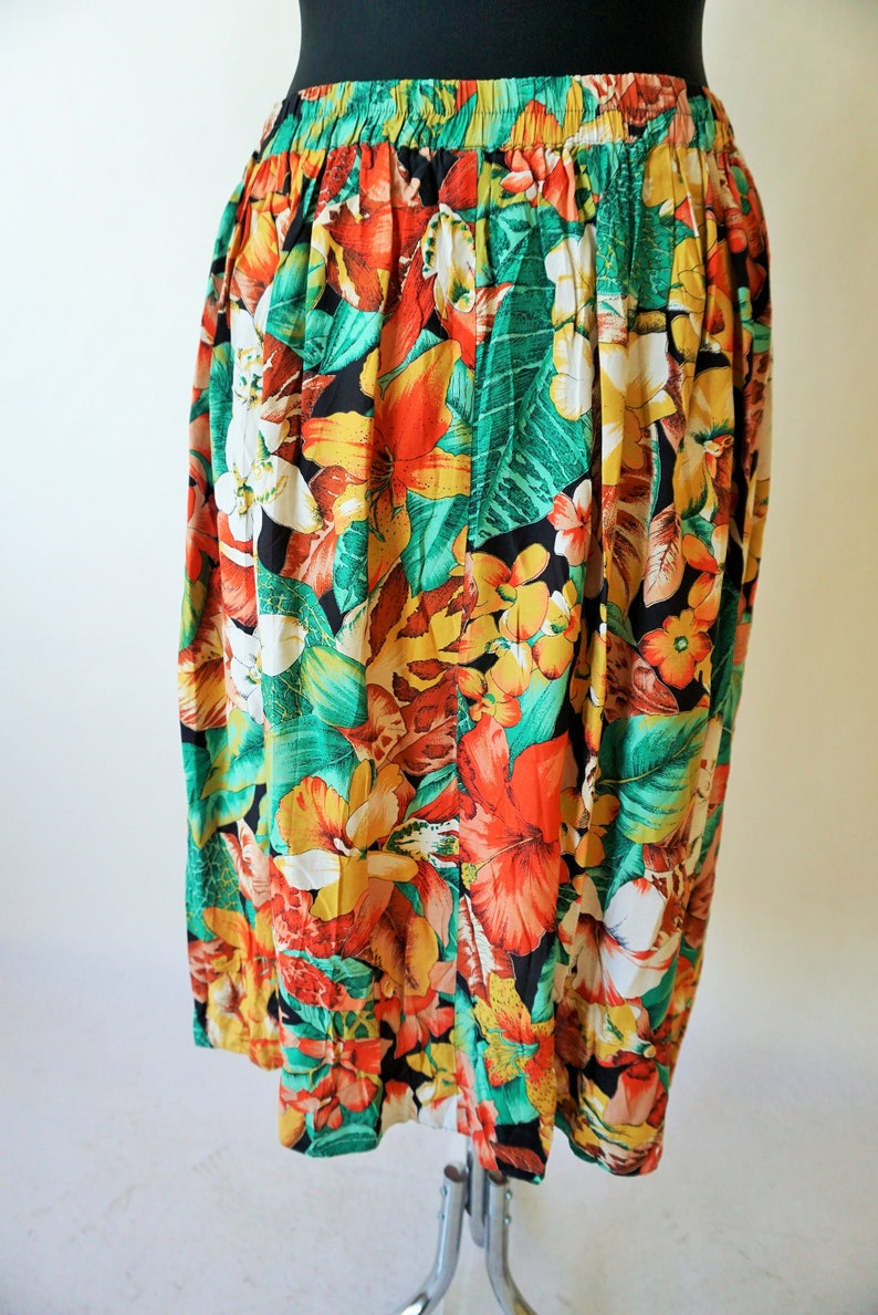 Vintage Summer Skirt  Skirts  High Waist  High Waisted  Flowers  Floral  Midi  90s  80s large  l  44  Party  Sun  Romantic