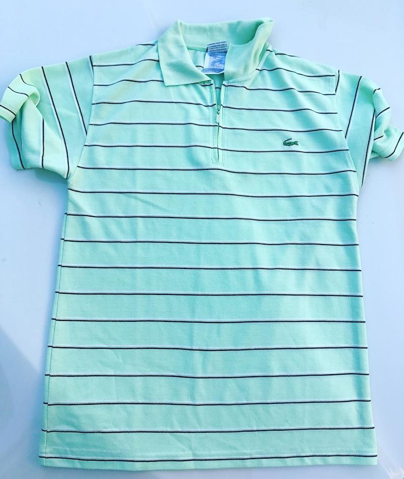 115fc80cf17a9 Vintage LACOSTE polo shirt / T-shirt / Green / Light / Stripped /  Sportswear / Activewear / Golf / Tennis / Sport / Small / S / zipper