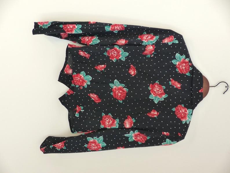 Vintage Women/'s Blouse  Top  Blouse   Shirt   Hawaii  Vacation  Polka Dots  Puff Sleeve  Flower print  S  Boho Shirts  Grunge