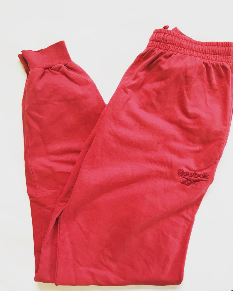 13a56dd7f271f Vintage Reebok Sweatpants / Trainers / Tracksuit / Track button / Pants /  Trousers / Medium / M / Red / Running / Run Gear