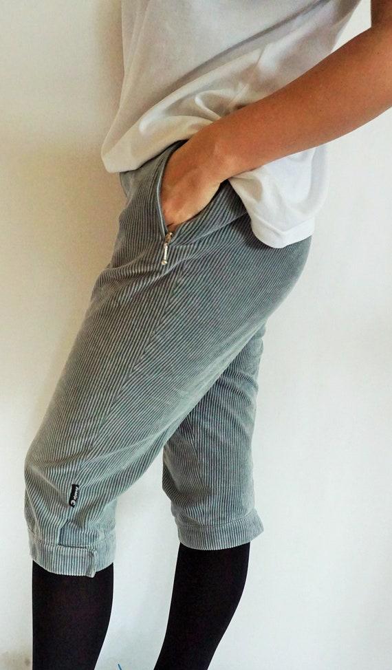 Vintage Womens Velvet Shorts  Gray  Blue  Fusalp  High Waisted  High waist  long shorts  42  33  Capris  Trousers