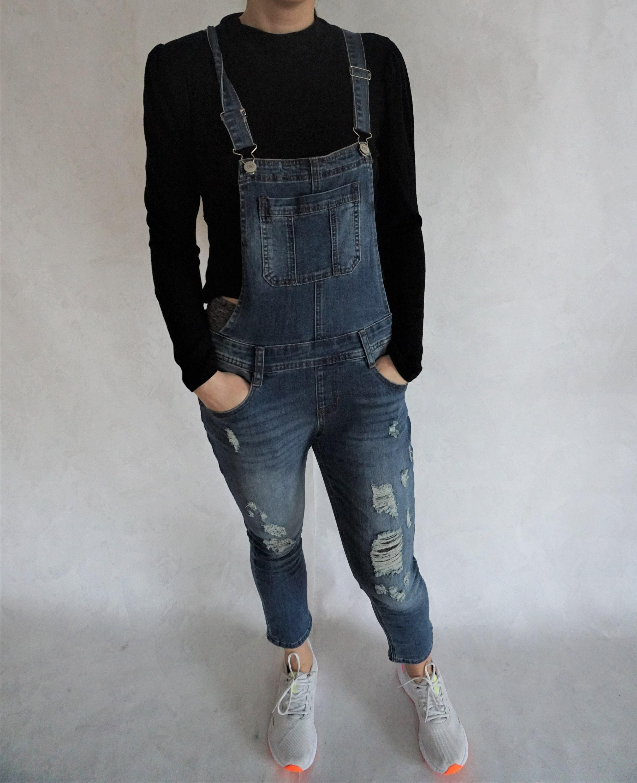 Vintage Overalls & Jumpsuits Vintage Denim OverallOveralls Onepiece One Piece Medium M Romper Jumpsuit Pregnancy Pregnant Jean Dungarees Dark $14.00 AT vintagedancer.com