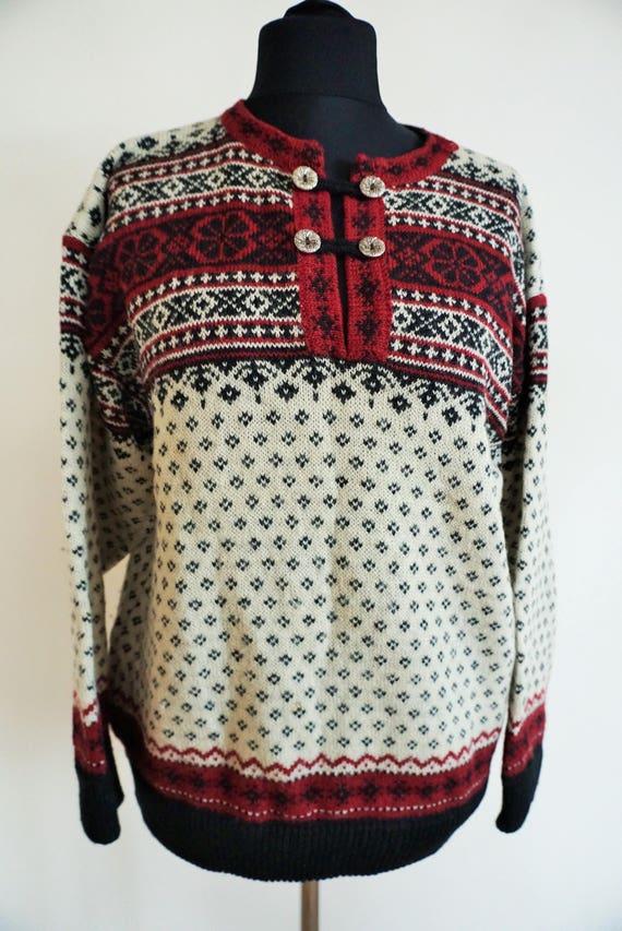Sweater Black M Norwegian Pullover Vintage Norway White Scandinavian Nordic Women wool Men Medium Red Buttons 05wnw1O