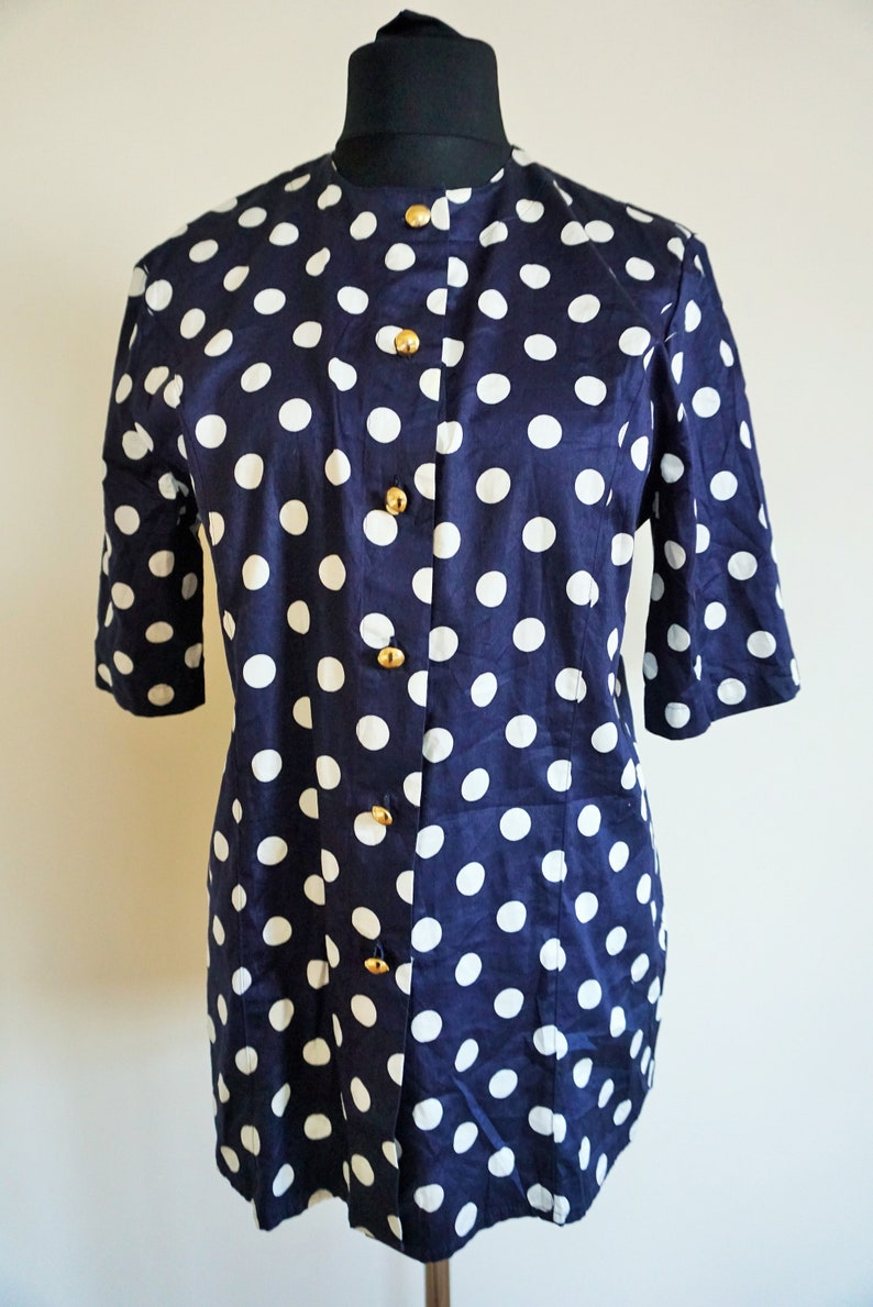 b5a939623693b Vintage Womens Blouse / Top / Shirt / Polka dots / Sailor / Dark Blue /  White / 90s / Large / L / 42 / XL / Long / gold buttons
