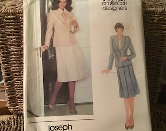 4a1a6160c7d Vintage 1990s Vogue pattern -2697 -Joseph Picone American DESIGNER Classic  blazer jacket and Pleat front skirt