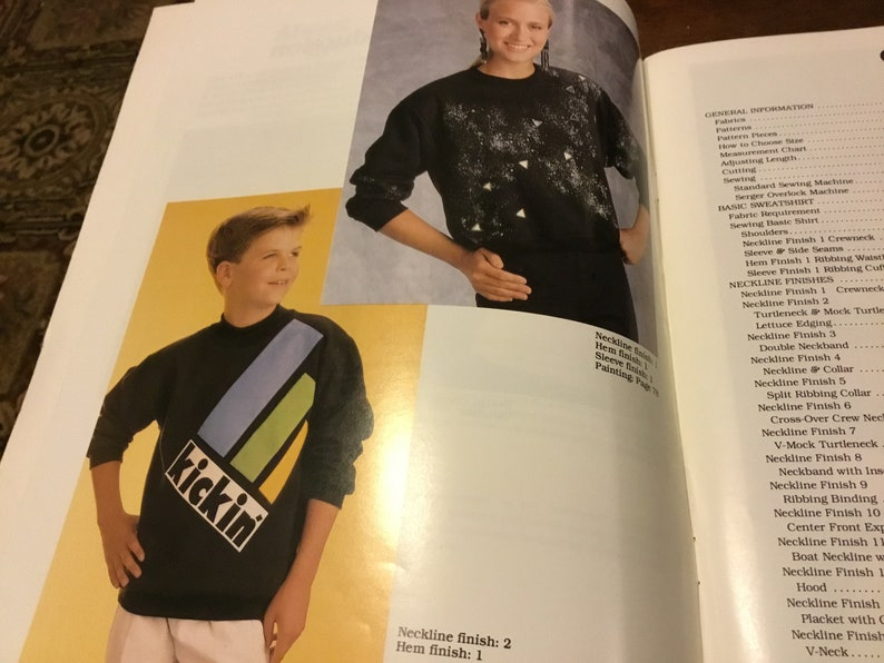 master pattern and 8 different sizes Vintage 1989 Kwik Sew\u2019s Sweatshirt Unlimited Book /& Master Pattern