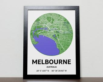 Melbourne Australia - GPS Map Poster