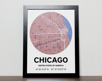Chicago - GPS Map Poster