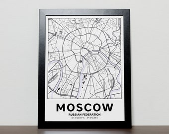 Moscow Russia - GPS Map Poster
