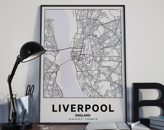 Liverpool England - GPS Map Poster