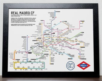 Real Madrid Greatest Ever Players Metro Tube Subway Poster