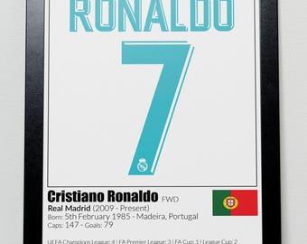 Real Madrid Legends Poster Beckham Zidane Ronaldo