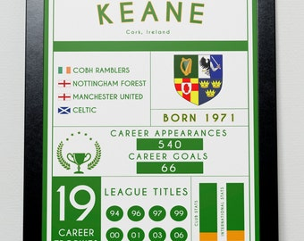 Roy Keane Stats Poster Celtic Manchester United Ireland
