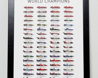The History of Formula One World Champions Poster F1