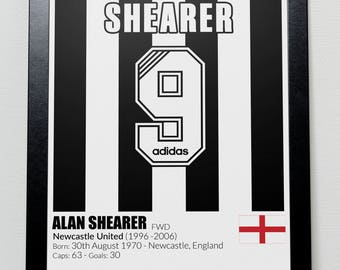 Newcastle United Football Legends Poster Shearer