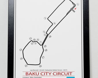 Baku Azerbaijan Grand Prix Track illustration Poster