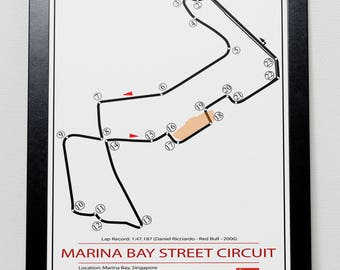 Marina Bay Street Circuit Singapore Grand Prix Track illustration Poster