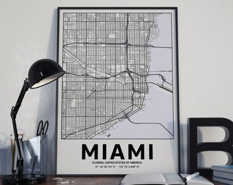 Miami - GPS Map Poster