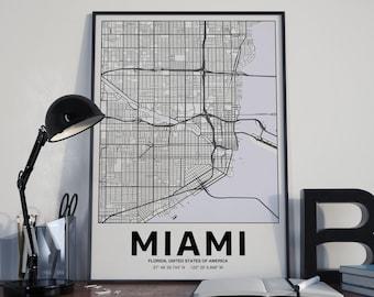 Miami - GPS Map Poster