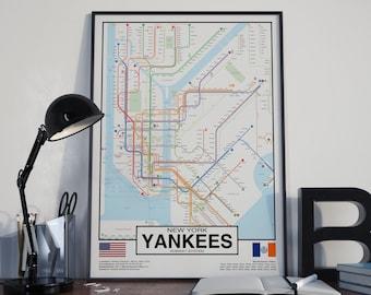 New York Yankees Subway Metro system Poster