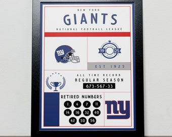 New York Giants Stats Poster - NYC - NFL - National Football League - NYG