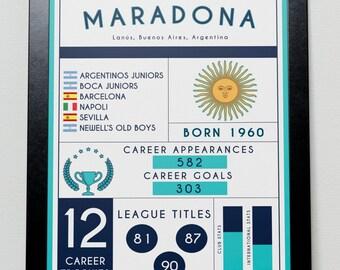 Diego Maradona Stats Poster - Argentina