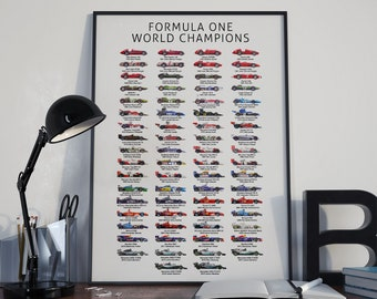 The History of Formula One World Champions Poster F1 (Updated with 2019 Champion)