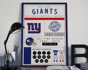 New York Giants Stats Poster - NYC
