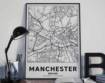Manchester England - GPS Map Poster