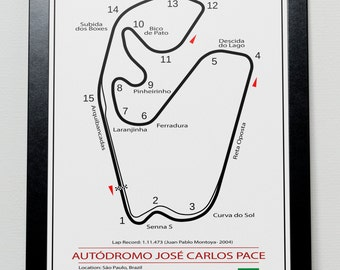 Interlagos Brazilian Grand Prix Track illustration Poster