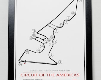 Circuit of the Americas USA Grand Prix Track illustration Poster