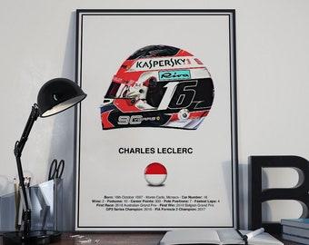 Charles Leclerc Helmet Poster