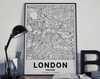 London England - GPS Map Poster