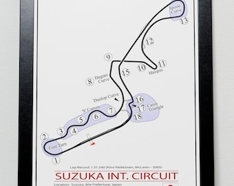 Japanese Grand Prix Suzuka Track illustration Poster