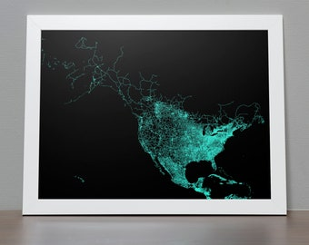 Road Map of North America Poster