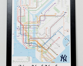 New York Yankees Subway Metro system Poster