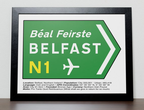 Irish Road Signs Belfast Etsy